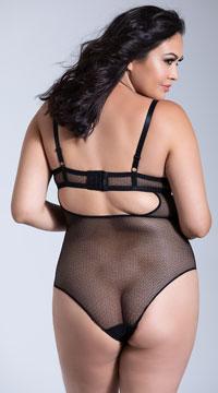 Yandy Plus Size Status Update Bodysuit - Black