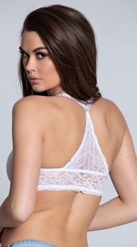 Yandy White Lace Racerback Bra - White