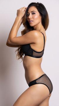 Yandy Geometric Cutwork Black Bikini Panty - Black