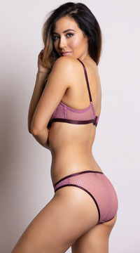 Yandy Geometric Cutwork Plum Bikini Panty - Plum
