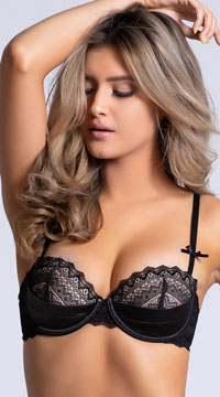 Yandy Gloss Over Balconette Black Bra - Black