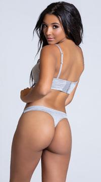 Yandy Femme Modal Grey Thong Panty - Grey