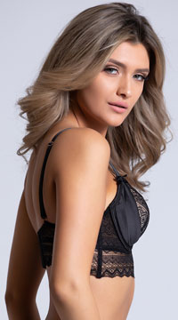 Yandy Gloss Over Black Longline Bra - Black