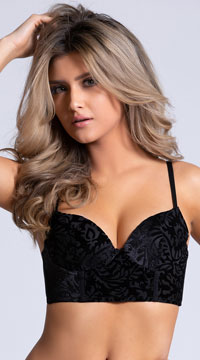 Yandy Velvet Nights Black Longline Bra - Black