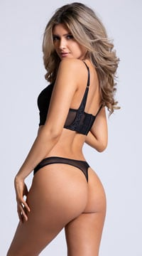 Yandy Velvet Nights Black Thong Panty - Black
