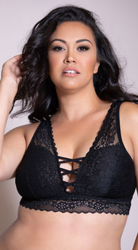 Yandy Plus Size All Crossed Up Black Bralette - Black