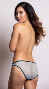 Yandy Geometric Cutwork Blue Bikini Panty - Blue