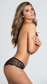 Yandy All That Glistens Black Hipster Panty - Black