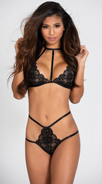 Yandy Babe Time Bralette and Skirt Set - Black