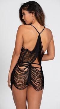 Yandy Fringed Beauty Skirt Set - Black