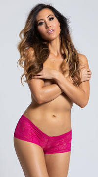 Yandy Lacy Crotchless Boyshort - Fuchsia