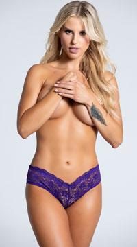 Yandy Cage Back Lace Panty - Purple
