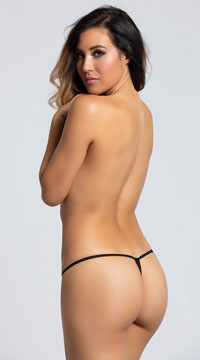 Yandy Crotchless Heartbreaker Thong Panty - Black