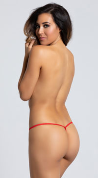 Yandy Crotchless Heartbreaker Thong Panty - Red