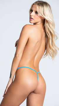 Yandy Lace After Dark G-String - Ocean Blue