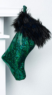 Yandy Sassy Faux Fur Christmas Stocking - Emerald/Black