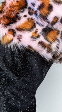 Yandy Sassy Faux Fur Christmas Stocking - Black/Pink Leopard