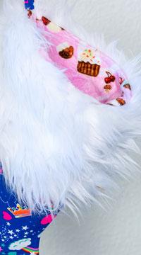 Yandy Sassy Faux Fur Christmas Stocking - Royal Blue/White