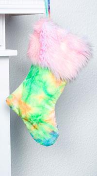 Yandy Sassy Faux Fur Christmas Stocking - Pastel Tie Dye