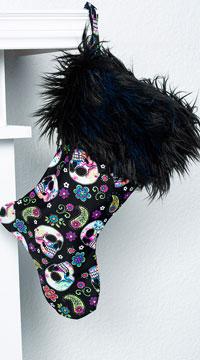 Yandy Sassy Faux Fur Christmas Stocking - Skulls
