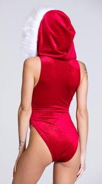 Yandy Velvet Vixen Bodysuit - Red/White