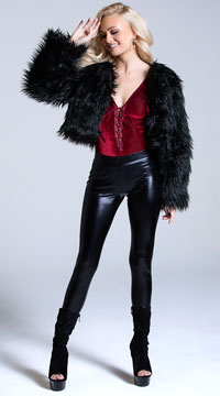 Yandy Fur-Ever Feisty Shag Jacket - Black