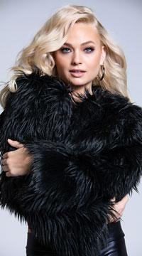 Yandy Fur-Ever Feisty Shag Jacket - Black