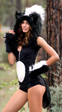 Yandy Deluxe Skunk Romper Costume - Black/White