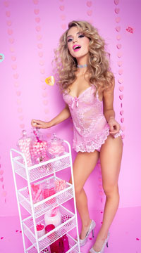 Yandy Playtime Babydoll Set - Light Pink