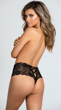 Yandy Crotchless Lace Boyshort Panty - Black