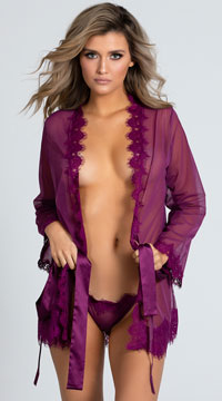 Yandy Eyelash Lace Robe Set - Amaranth