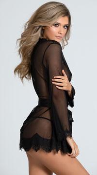 Yandy Eyelash Lace Robe Set - Black