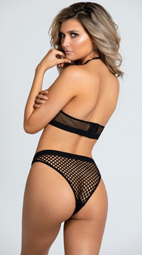 Yandy Best Catch Fishnet Bralette Set - Black