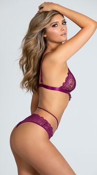 Yandy Laced and Lovely Bralette Set - Amaranth
