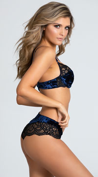 Yandy Velvet Vixen Bra Set - Astral Aura/Black