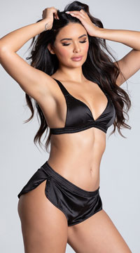 Yandy Sensual Desires Satin Short Set -  - Black