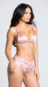 Yandy Sensual Desires Satin Short Set -  - Mellow Rose