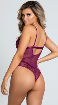 Yandy Pursue Me Strappy Teddy - Amaranth