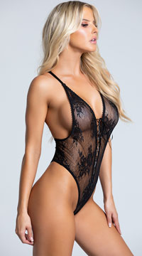 Yandy Vivacious V Lace-up Teddy - as shown
