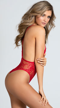 Yandy Vivacious V Lace-up Teddy - Red