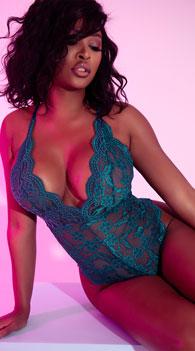 Yandy Midnight Infatuation Lace Romper -  - Everglade