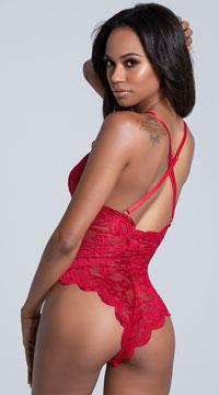 Yandy Midnight Infatuation Lace Romper -  - Lipstick Red