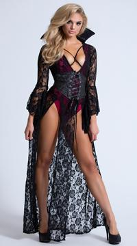 Yandy Wicked Vampire Costume - Black/Burgundy