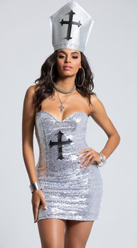 Yandy Shining Bright Pope Costume - Silver/Red