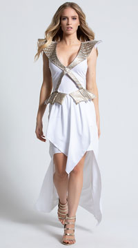 Yandy Sexy Dragon Warrior Costume - White/Grey