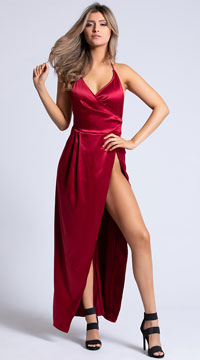 Yandy Bella Slit To Perfection Satin Gown - Red