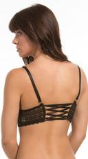 Brooke Geometric Lace Longline Bralette - Black