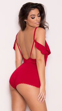 Yandy Draping Lounge Romper - Red