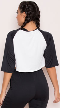 Yandy Oversized Raglan Crop Top - Black/White