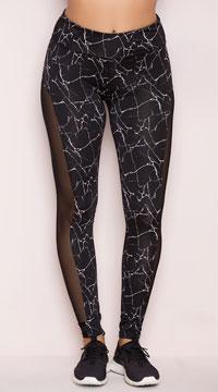Yandy Marbled Mesh Leggings - Black